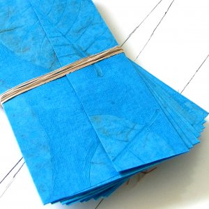 Christmas gifts craft stationery set 10 turquoise handmade recycled cotton natural leaf paper