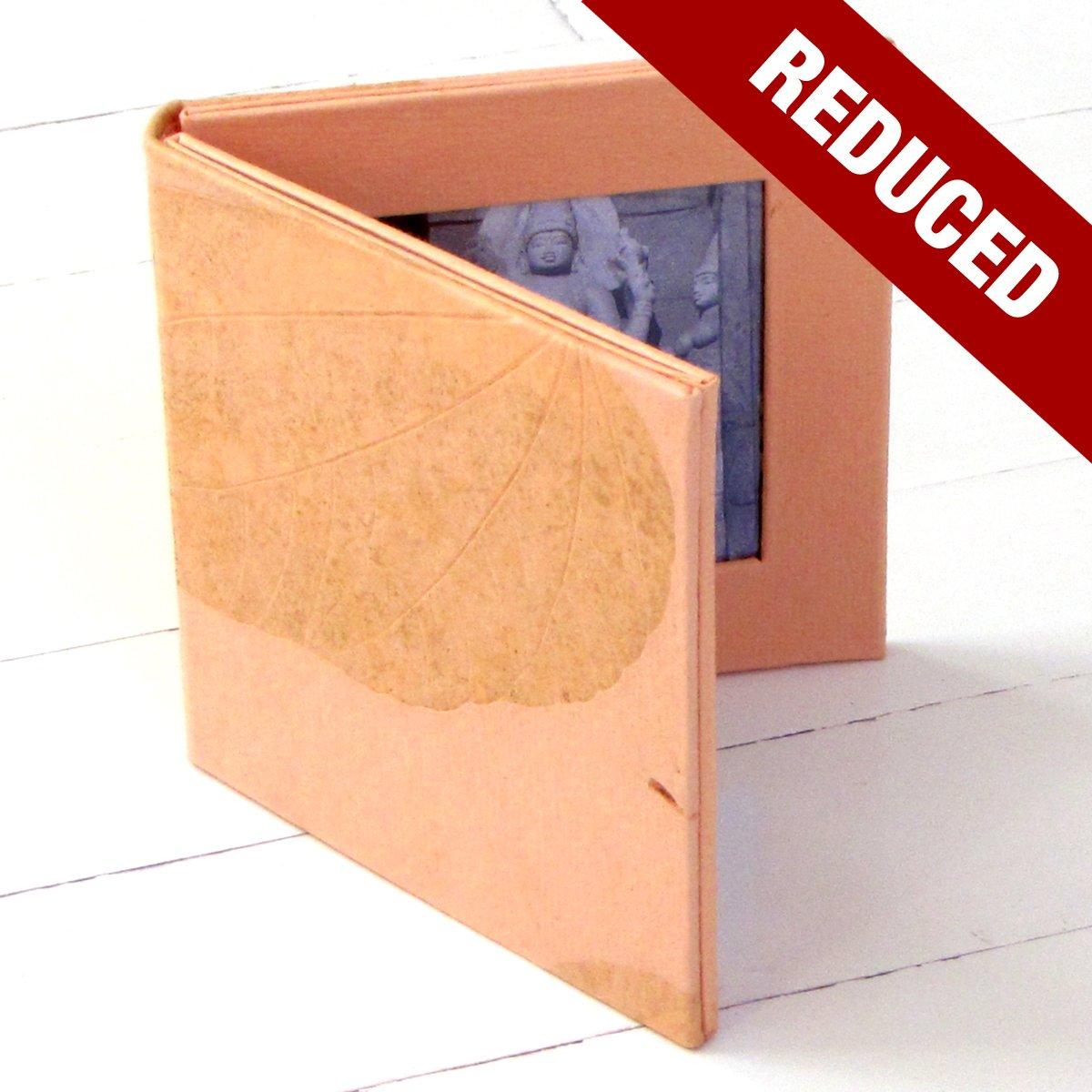 Photo frame 4x4 double folding pink handmade leaf imprint paper