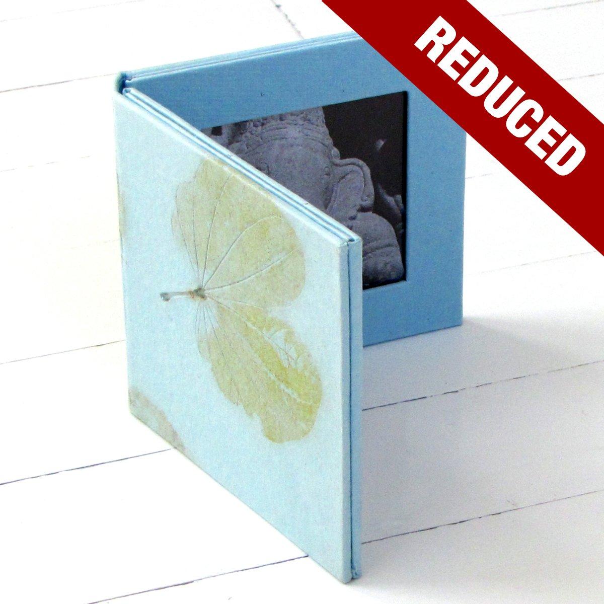 Blue double photo frame folding 4x4 handmade tree free leaf imprint paper