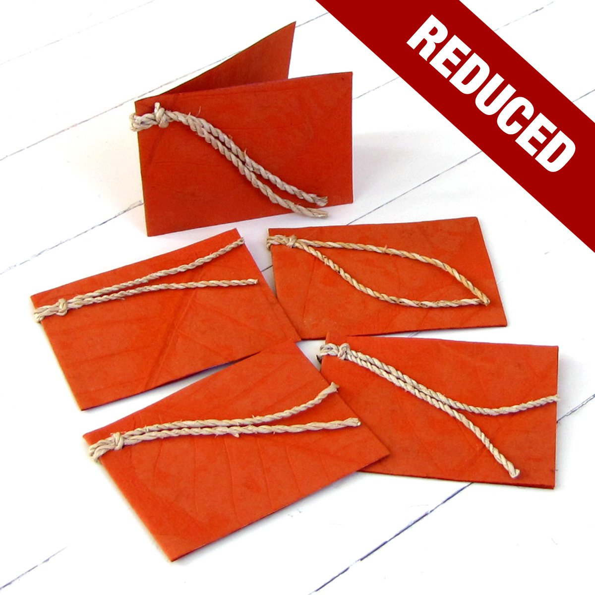 5 handmade 3x2.5 gift tags dark orange natural leaf imprint paper