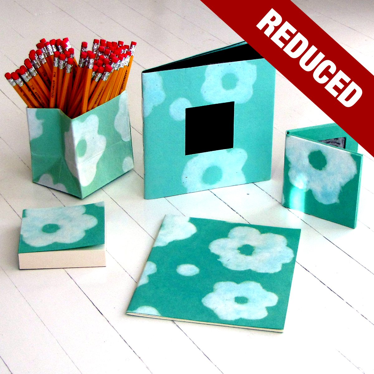 Desk sets aqua 5pc handmade flower power paper accessories present