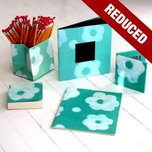 Desk sets aqua 5pc handmade Moms flower power paper accessories present