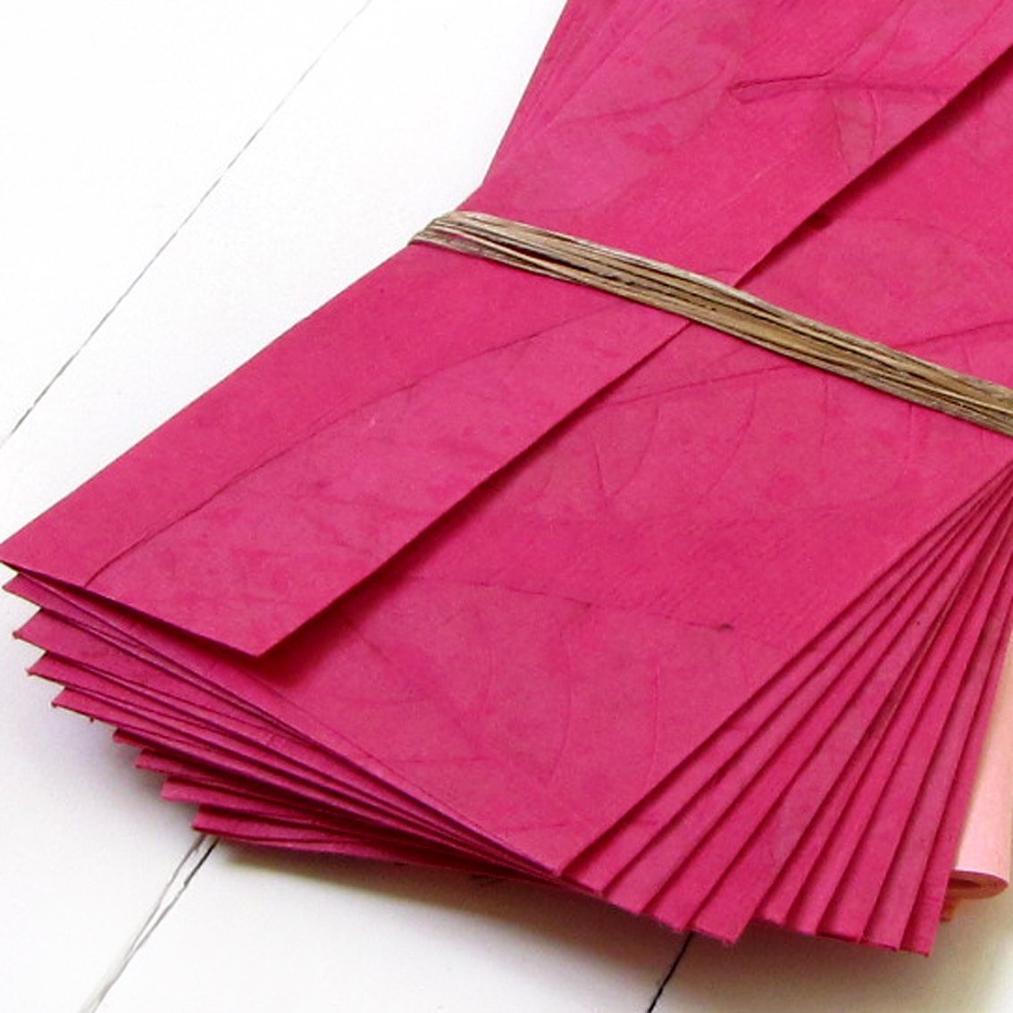 Tree free handmade natural leaf paper stationery letter set 10 recycled craft Mom gift hot pink