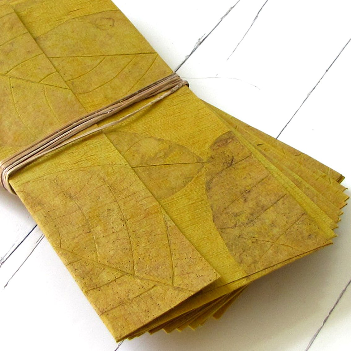 Stationary handmade tree free paper leaf set10 ochre writing paper craft wedding gift