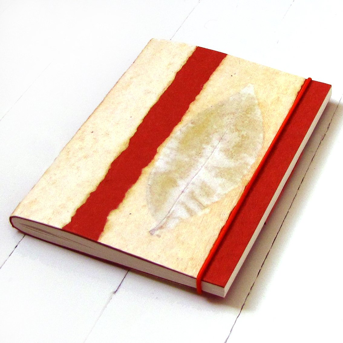Writing journal blank guest book handmade paper crafts striped orange 5x7 88pp Xmas gifts