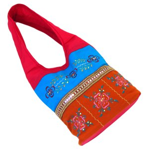Cheap bags hot pink/blue/orange shoulder bag 100% cotton embroidery sequin detail 23x10x4.5