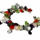 Bracelet 7in mixed semi precious stone carnelian amethyst pearl handmade gift 925 silver