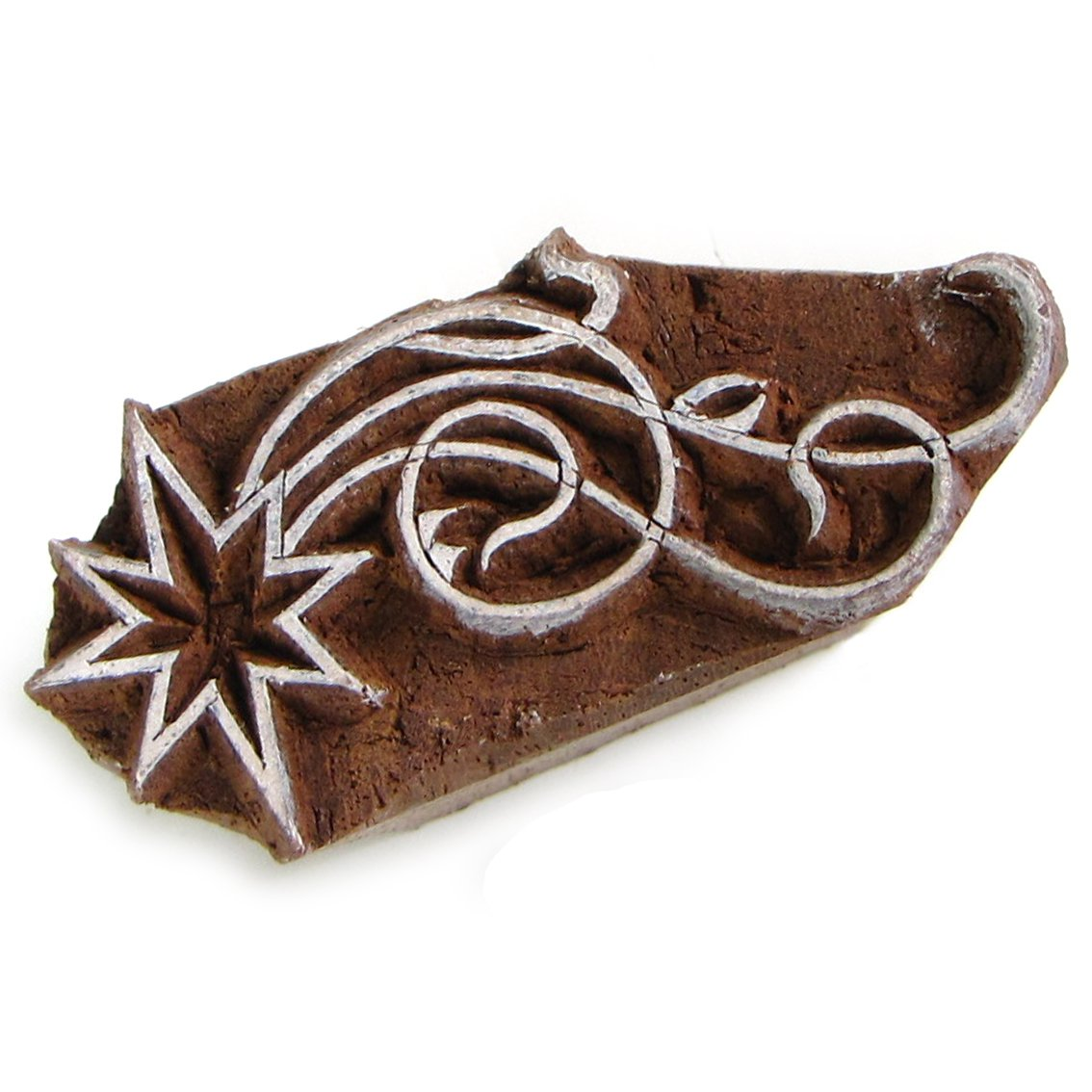 Stamping star solid wood block ink stamp 2in handmade from recycled wood India handicrafts