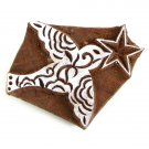 Stamp handmade 2in dove with star solid wood block ink stamp natural Indian handicrafts