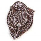 Ink stamp paisley5 large 4in handmade solid wood block stamping paper crafts Indian folk art
