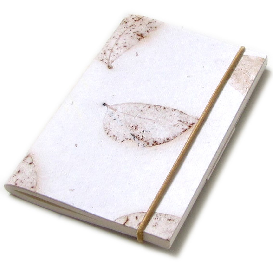 Notebook small elastic diary 3x5 40pp blank journal handmade recycled white leaf paper stationery