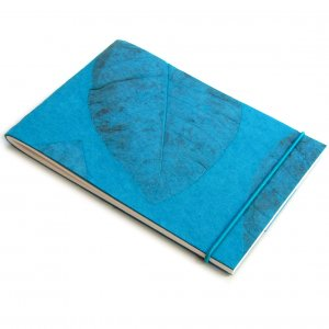 Notebook handmade teal recycled large natural leaf paper writing journal notes sketching 7x5 40pp