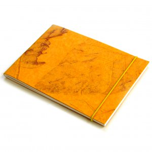 Blank writing journal 7x5 40pp sketching recipes gold handmade large leaf recycled paper craft