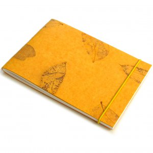 Blank notebook 7x5 40pp diary gold natural handmade small leaf paper craft gift
