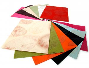 Scrapbook tree free handmade recycled craft paper set6 8x10in natural leaf imprint asst colors