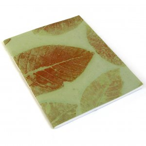 Writing journal blank handcrafted notebook recycled handmade leaf paper mint sketching 7x8 50pp