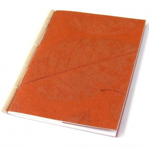 Guest book blank notebook sketching cane spine handmade recycled paper stationary orange 7x8 30pp