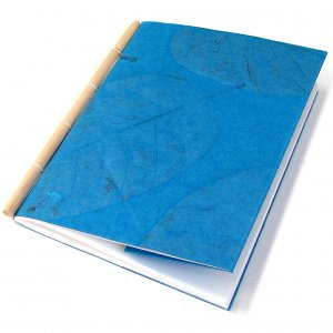 Scrapping handcrafted guest book 7x8 30pp sketching cane spine handmade teal leaf paper