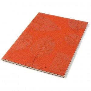 Scrapbook recycled handmade leaf paper orange sketching 8x11 38pp blank notebook mom present