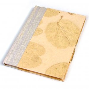 Blank guest book 6x8in 50pp writing journal raw silk spine cream heart leaf natural handmade paper