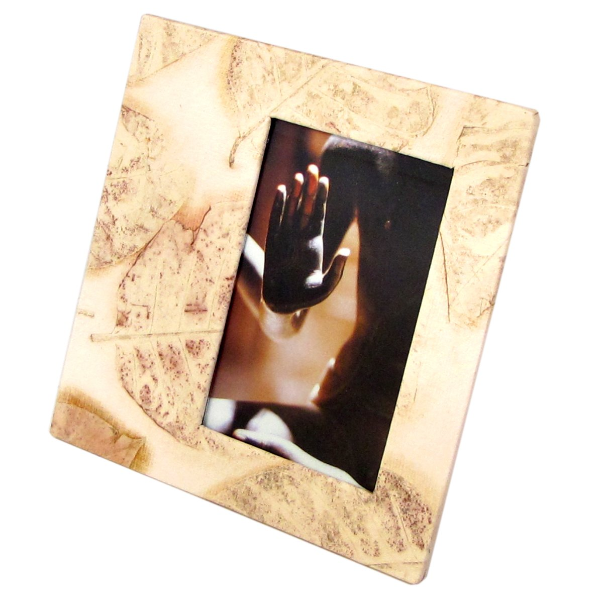 Picture frame wedding 4x6/5x7 handmade cream leaf imprint paper