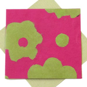 "Greetings card square 5x5 1/2"" flower power olive/pink handmade eco friendly paper"