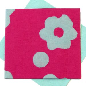 """Handmade cards stationery 5x5 1/2"""" tree free pink/turquoise flower power eco friendly paper crafts"""