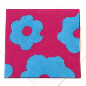"""Tree free cards handmade pink/blue flower power paper crafts square 5x5 1/2"""" green bday mom xmas gifts stationery"""