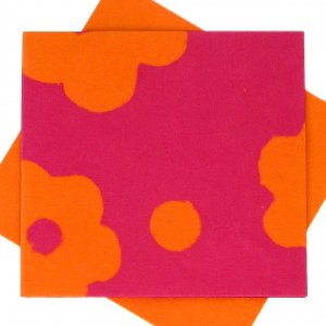 "Greetings cards handmade square 5x5 1/2"" hot pink/orange flower power recycled paper thank you"