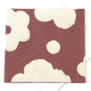 "Handmade greetings birthday card square 5x5 1/2"" eco friendly paper flower power tan"