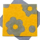 "Greetings card Mom 5x5 1/2"" handmade yellow/gray flower power tree free eco friendly paper craft"