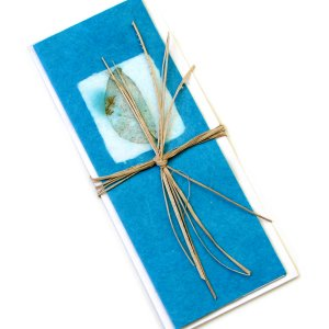 Greeting birthday thank you mom card 3x8 teal long handmade recycled leaf imprint paper