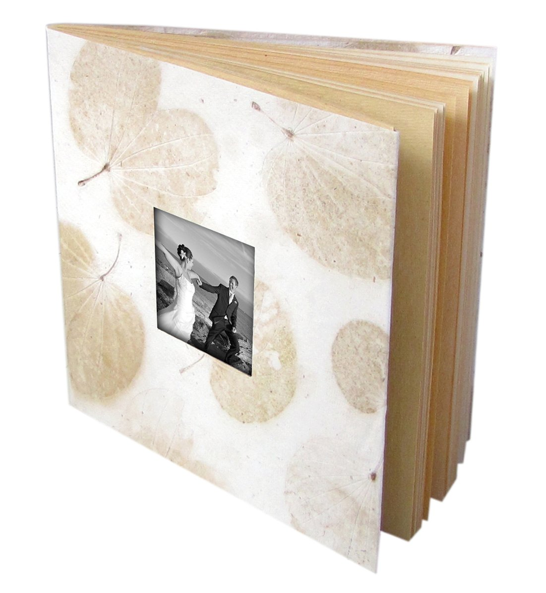 Wedding photo album 5x7/6x8 tree free white heart leaf handmade paper stationery gift 16pp