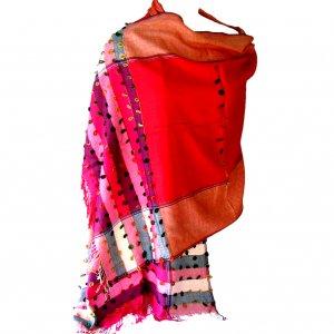 Scarf hot pink wrap wool mix w/stripe detail 28x74in 35 silk, 30 cashmere, 35 viscose