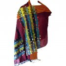 Scarf shawl for mom gift plum multi color stripe detail 28x74in 35 silk, 30 cashmere, 35 viscose