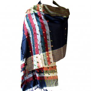 Scarf blue/black multi stripe detail 28x74in Mom accessories 35 silk, 30 cashmere, 35 viscose