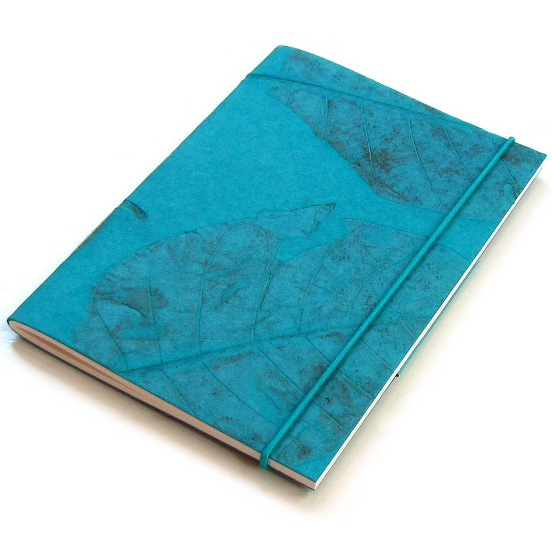 Sketching diary notebook recipes journal handmade teal large natural leaf 5x7 40pp hand sewn binding