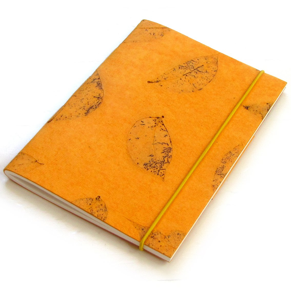 Handmade natural paper blank notebooks 5x7 40pp light orange small leaf paper crafts great gift