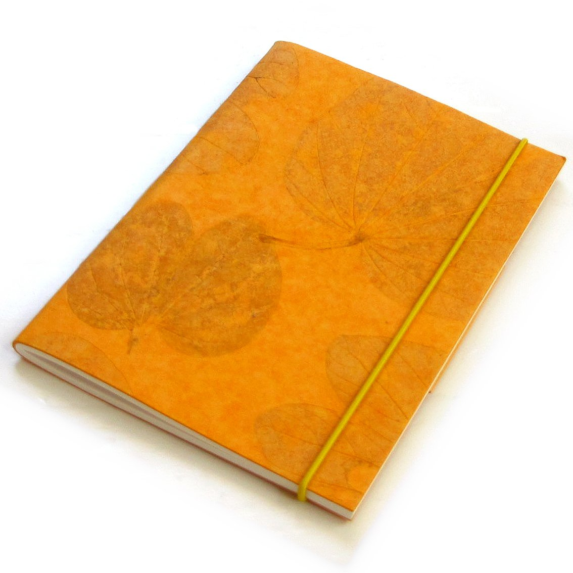 Light orange handmade recycled heart leaf paper 5x7 40pp notebook sketching diary