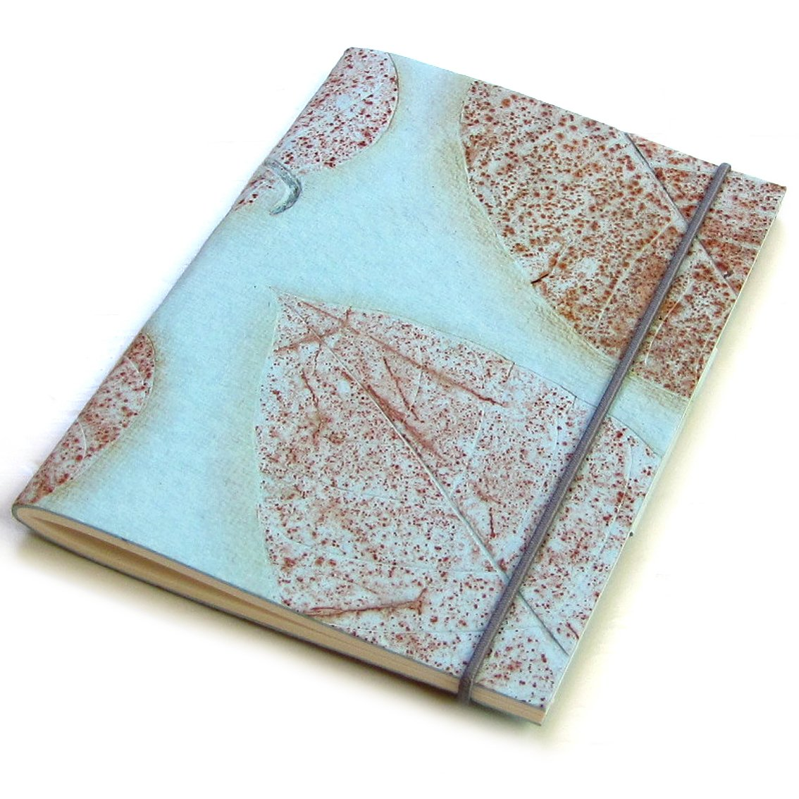 Journal recipes guest book sketching notebook handmade elastic light blue 5x7 natural leaf paper