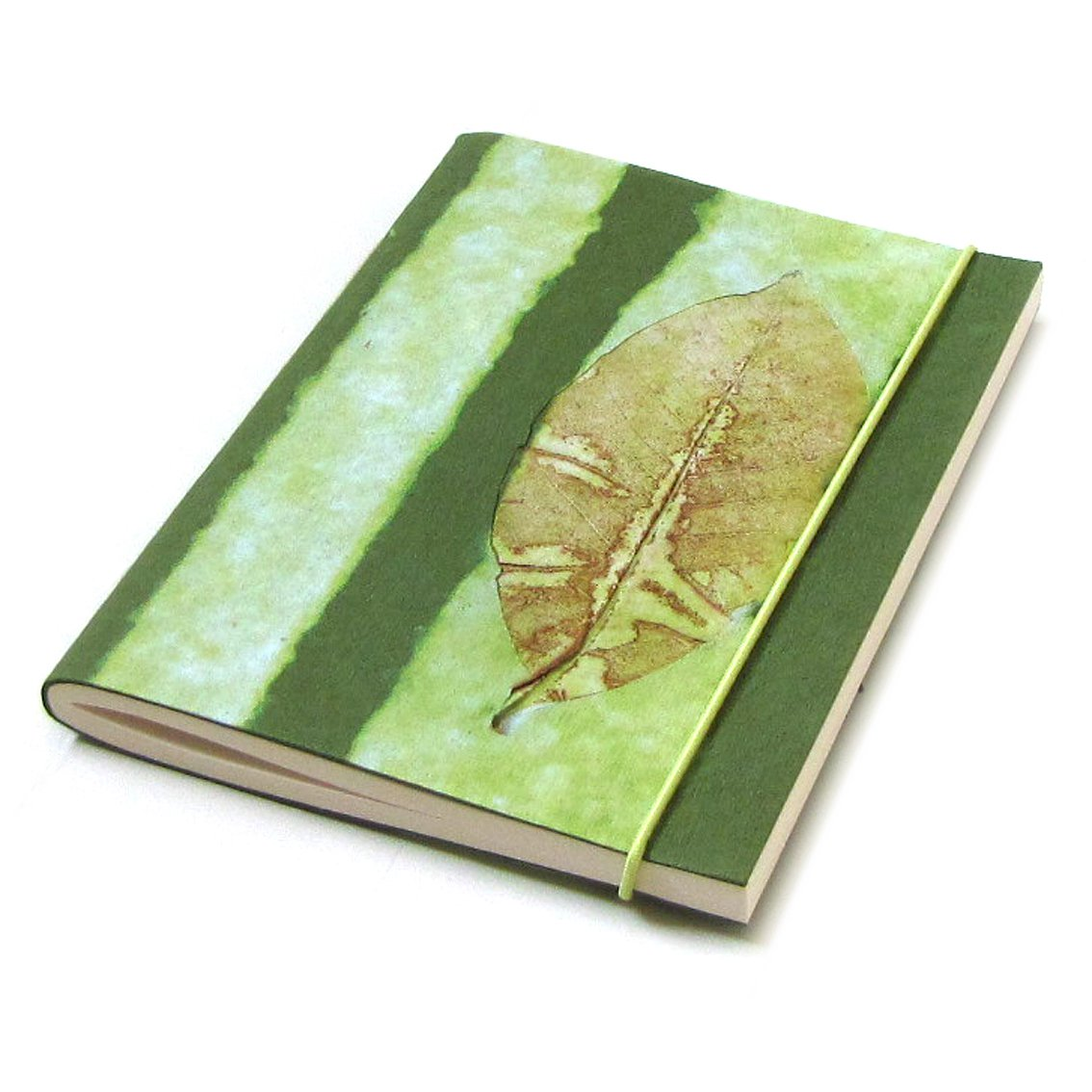 Journal guest book notebook handmade paper notebook striped green bday mom xmas gifts 5x7 88pp