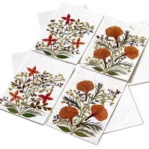 4 greetings mom thank you mom cards dried press flowers Xmas handmade tree free paper 5x7