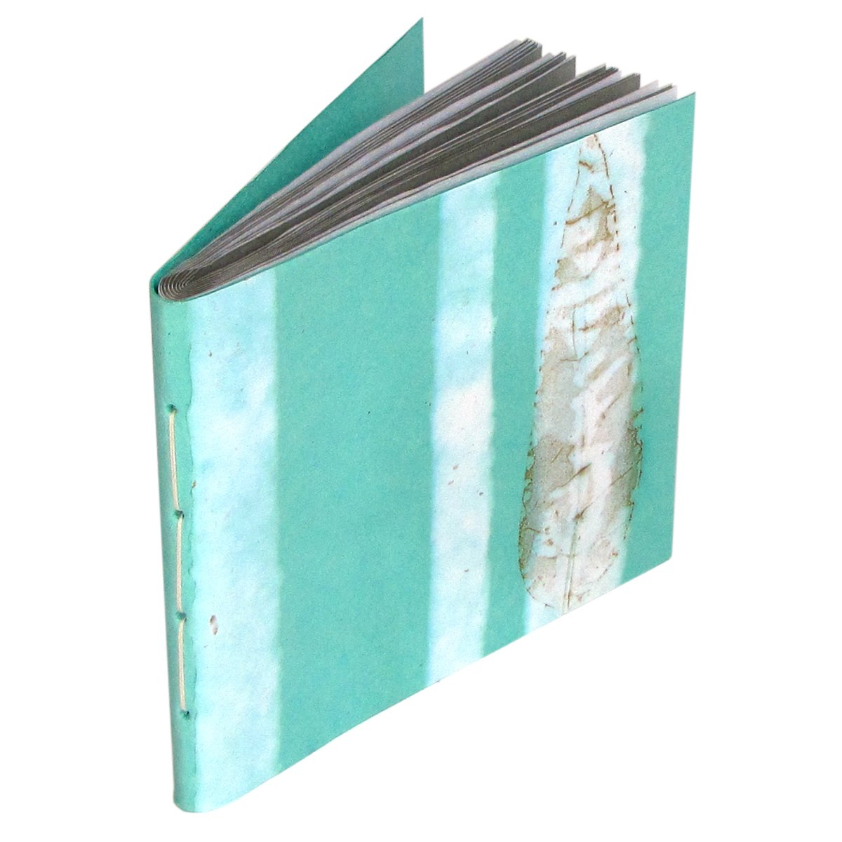Picture album aqua handmade photo book 6x8 pics 16pp handcrafted natural leaf paper craft gift
