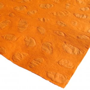 Green gift wrap scrapbook craft sheets 21x31in handmade paper orange small leaf