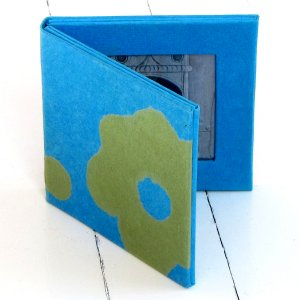 Photo picture frame 2.5x2.5 double pics handmade acid free flower paper turquoise/green bday mom xmas gifts