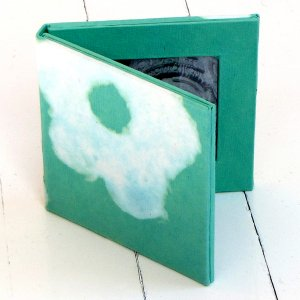 Photo handmade picture frame 2.5x2.5 double folding aqua flower acid free paper craft stationery