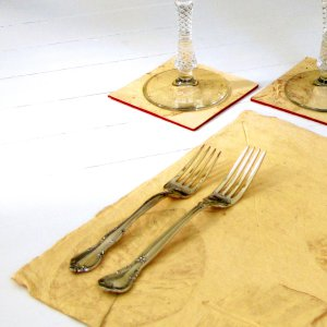 Set6 mom present placemats handmade home decor heavy coated natural leaf paper sand
