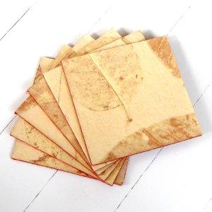 Set 6 coasters handmade natural leaf heavy coated paper craft home decor Mom felt backs sand