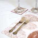 Set 6 green present gift placemats handmade home decor heavy coated white handmade natural paper