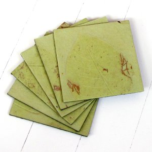 Set 6 coasters green bday mom xmas gifts handmade eco friendly leaf paper felt back